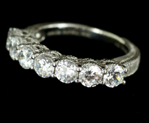 Vintage Judith Ripka Sterling 2.1cttw Bright White CZ's Band Ring sz 6