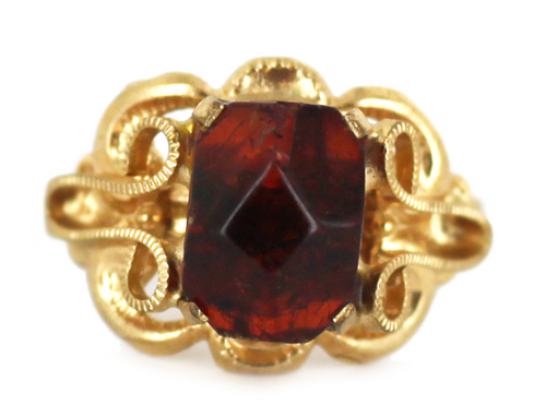 Vintage Sterling Gold Vermeil Russian Cognac Baltic Amber Ring Size 6-8 Adjustable