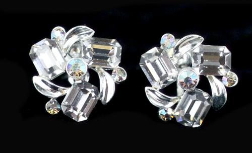 Vintage  Elegant Lisner Grey Octagon AB Rhinestones Screw back Postless Earrings