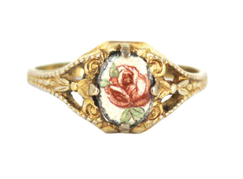 Vintage Red Enamel Rose 14KTGE Gold Electroplated Sweet Dainty Ring Size 7.5