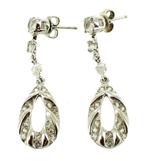 """Antique Deco Sterling Ornate Flower Drop Hoop Post Earrings w Crystals 1.5"""" Long"""