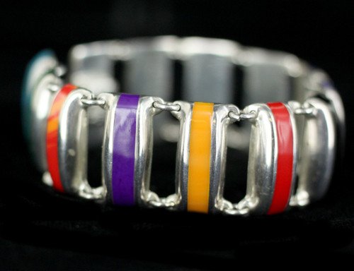 """Vintage Sterling Taxco Mexico Multicolored Stone Link Bracelet 7"""""""