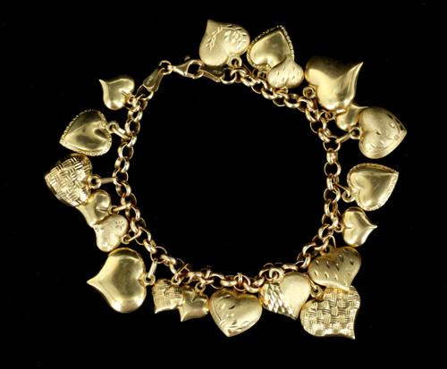 "Vintage Victorian Revival 14k Gold Milor Etched Puffy Hearts Charm Bracelet 7"""