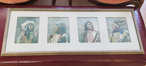 Antique Indians of North America Herman Heyn Sioux COLOR Portraits 4 Prints 1899