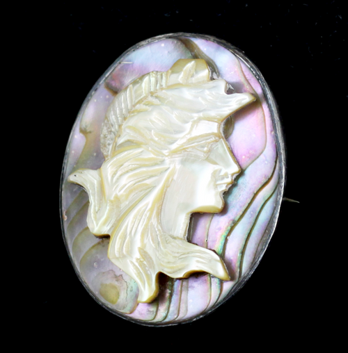"Antique Deco Sterling Mother Of Pearl-Iridescent Abalone Shell Cameo Pin 1.25""H"