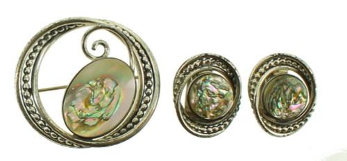 Vintage Sterling Mid Century La Jolla-Jensen Abalone Designer Pin Earrings Set
