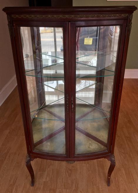 Antique  Louis XV Corner Curio Crystal Cabinet 1890's Mahogany Gilt Brass Ormolu