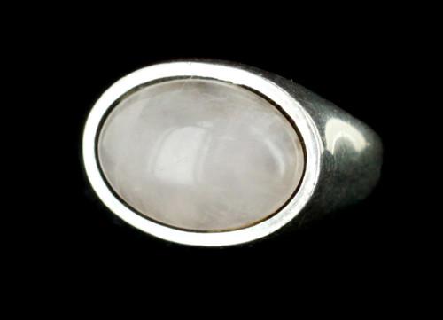 Vintage Modernist Cellini Sterling Rose Quartz Signet Ring sz 5