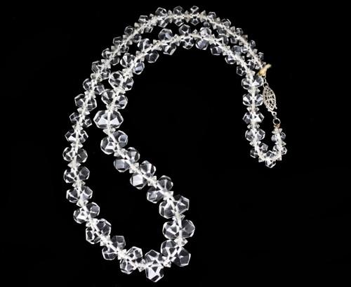 Antique Sterling Faceted Real Rock Quartz crystal Rondelle Beaded Necklace