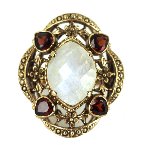 Vintage Gorgeous Nicky Butler Bronze Faceted Moonstone Garnet Ring Sz 7