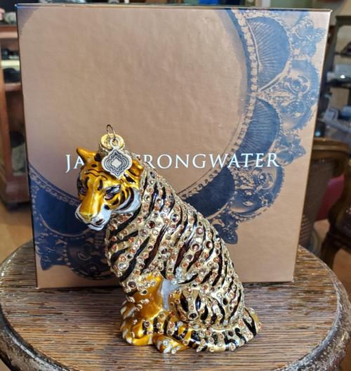 Jay Strongwater 'Tiger' 2002 Christmas Ornament w/ Swarovski Crystals w Box