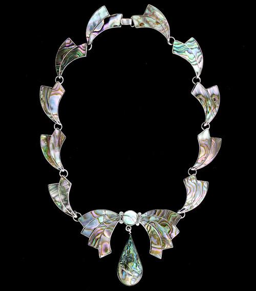 "Vintage Rubi Ramirez Midcentury Taxco Mexico Abalone Inlaid Bow Necklace 15"""