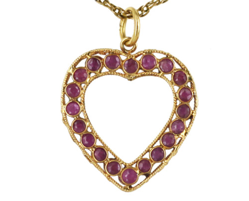 Vintage 10k Yellow gold 1cttw Rubies Double Sided Filigree Heart Pendant