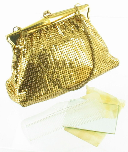 Vintage Whiting & Davis Gold Chain Mail Mesh Party Purse Bag 1950's Mirror Comb