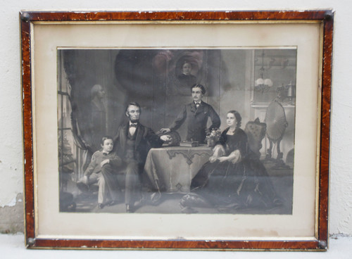 Antique 1886  Abraham Lincoln and His Family Engraving Waugh Sartain Framed All Original