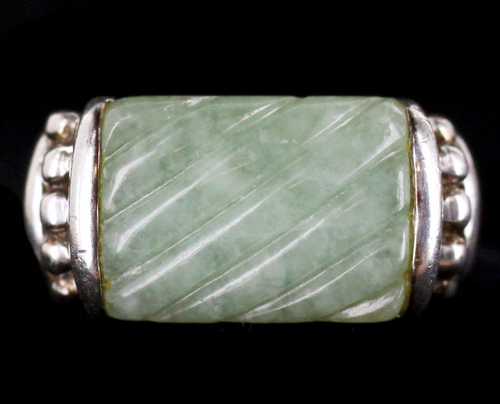 Vintage Judith Ripka Carved Green Jade Jadeite Sterling Silver Ring sz 7