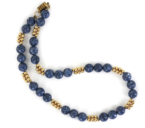 Antique Woven GF Gold Filled and Lapis w Quartz Beaded Necklace 17.25""