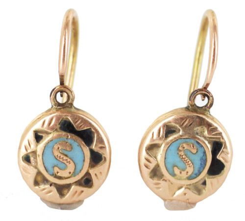 "Antique Solid Gold Russian Russia Enamel ""S"" Earrings Signed ""AR"" .75"""