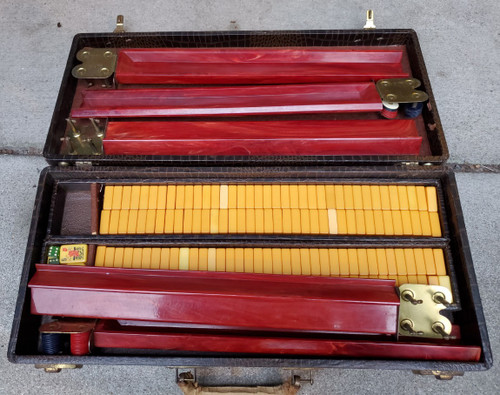 Vintage Chinese Dark Orange Bakelite MahJong Mah Jong 159 Tiles Set Alligator Leather Case No Res