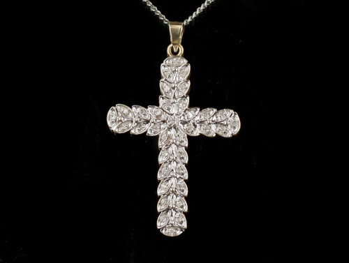 Vintage 14k Yellow and White Gold Diamonds GHI, SI Cross 1 5/8""