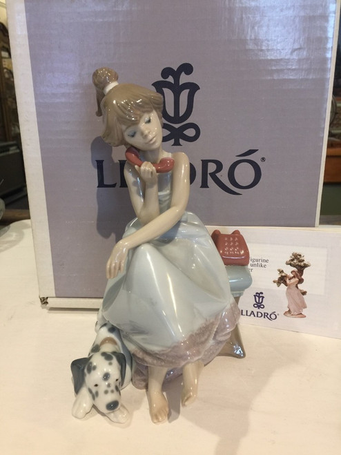 Adorable 1990 Lladro #5466 Chit-Chat w/ Dalmation Dog Figurine with Box Retired