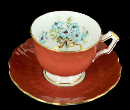 Aynsley Russet Orange Teacup, Aynsley Blue Windflowers, Vintage cup & Saucer, Aynsley Flowers