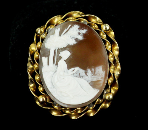 Antique 1850s Gold Filled GF Lovely Lady Sitting by River Shell Cameo Pin