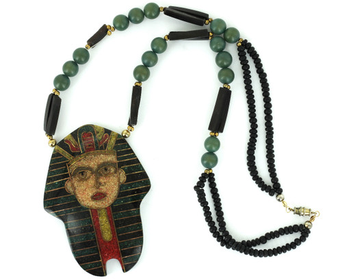 Vintage Egyptian Revival Pharaoh Inlaid Mosaic Brass Wood Unusual Bead Necklace