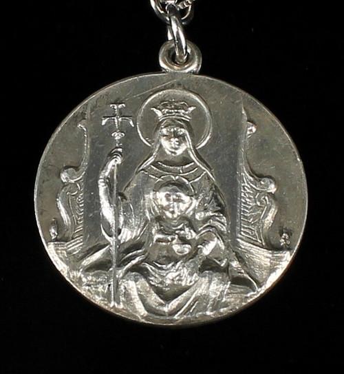 """Vintage Sterling Blessed Mother&Infant 1959 Silver Jubilee Medal Necklace 24"""""""