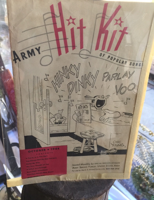 Antique WWII US Army Hit Kit Popular Songs Chic Young Blondie Comic Cover Sketch