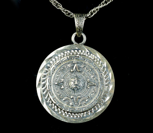 """Vintage Large Sterling Silver Aztec Mayan Calendar Mexican Necklace 24"""""""