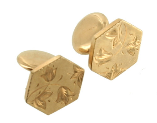 Antique Deco Gold Filled Engraved Tulips Leaves Hexagon GF Flip Cufflinks Dainty