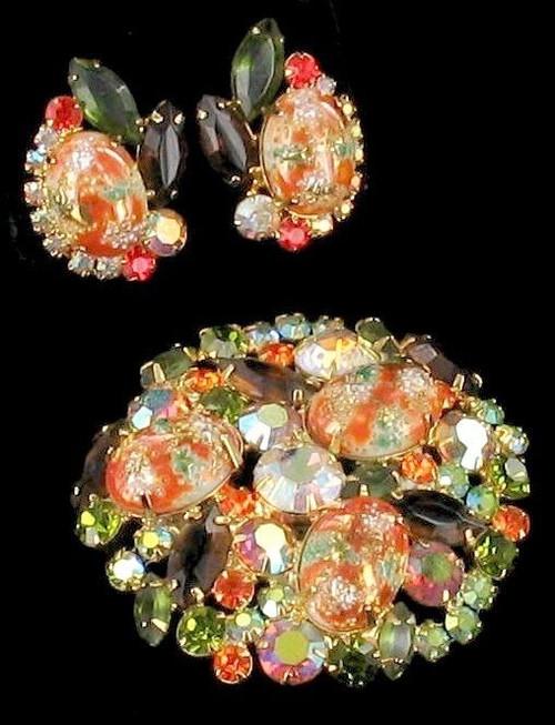 Vintage Juliana D&E Tara Verified Green Orange Easter Egg Pin Earrings Set