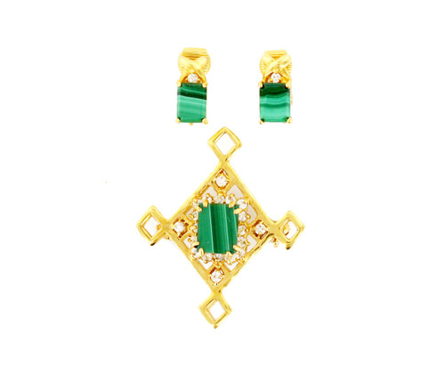 Vintage 14k GE Lind Celtic Malachite and Quartz Diamond Knot Brooch Earrings Set