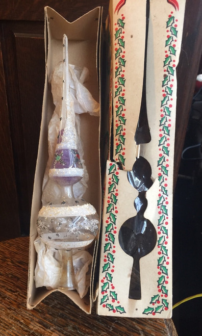 Antique Christmas Mercury Glass Tree Topper Ornament German w Box Tree Top Brand