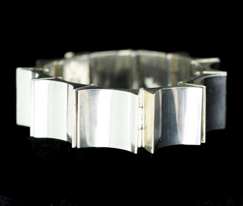 "Vintage Antonio Pineda 970 Silver Taxco Mid Century Modernist Thumbprint Bracelet 7"""