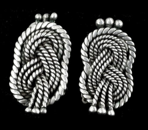 "Vintage Mid Century Modern Hector Aquilar 940 Sterling Braided Earrings 1"""