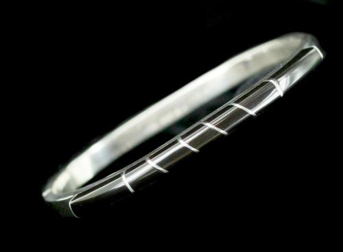 "Vintage Sterling Silver Taxco Mexico Inlaid Black Onyx Bangle Bracelet 7"""