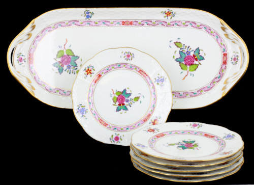VTG Herend Hungary Hand Painted Colorful Chinese Bouquet Sandwhich Tray 6 Plates