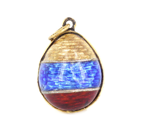 Antique Russian Sterling GP Guilloche Enamel Imperial Egg Necklace Pendant Charm