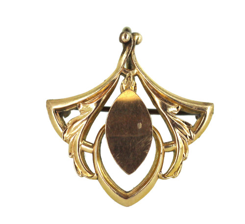 """Antique Art Nouveau Gold Filled GF Leaf Fleur de Lis Watch Chain Holder Pin 1"""""""
