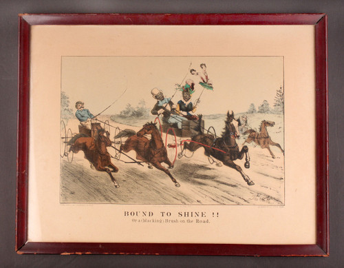 """Currier & Ives  """"Bound To Shine! (Or a (blacking) Brush on the Road."""" lithograph"""