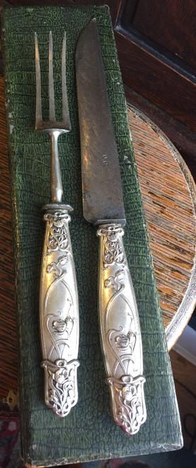 Antique Art Nouveau French OC Silverplate Carving Set Flatware Set w Case France