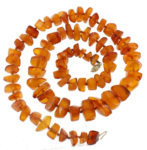 """Semi Antique 14k Gf Gold Filled Stunning 65g Knotted Baltic Amber Necklace 28"""""""