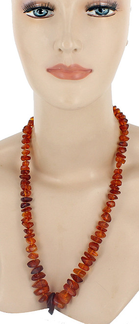 """Antique 14k Gold Genuine Graduated Chunk Baltic Amber 50g Knotted Necklace 24"""""""