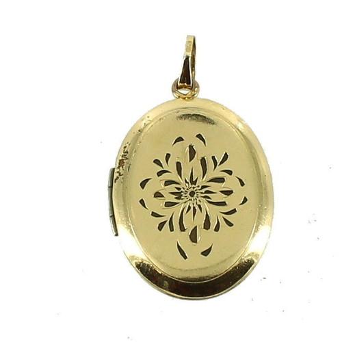 """Vintage  Deco 12k GF Gold Filled Oval Engraved Brite Cut Locket Large Size 1.25"""""""