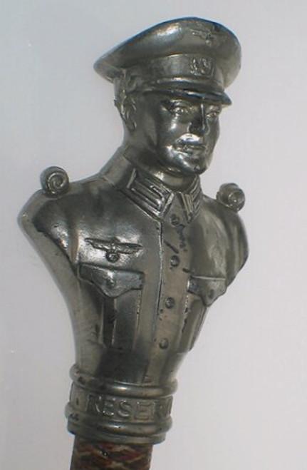 Rare Vintage WWII WW2 Authentic German Nazi Officiers Silver Walking Stick Cane Baton