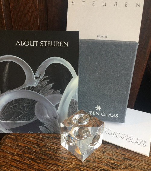 Vintage Mid Century Steuben Glass - Floating Spheres Cube Prism Crystal Paperweight, W/Box & Papers
