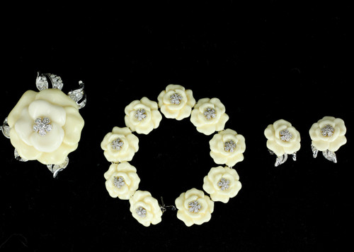Vintage Nolan Miller Signed Lara Camelia Flower Earring Pin Bracelet Set