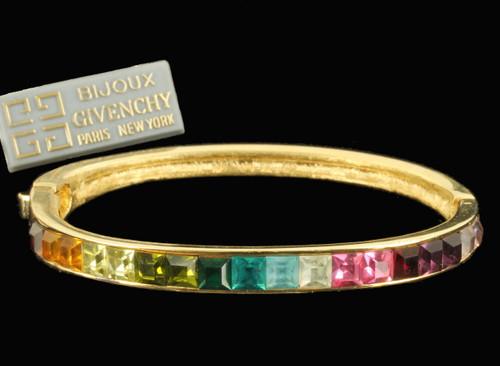 "Vintage Givenchy Rainbow Princess Cut Rhinestone Bangle Bracelet 6.5"" NOS"